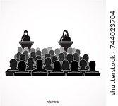 saudi arab man vector  talking... | Shutterstock .eps vector #744023704