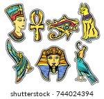 ancient egypt  old school...   Shutterstock .eps vector #744024394