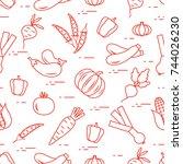 pattern  autumn seasonal...   Shutterstock .eps vector #744026230
