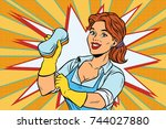 the cleaner with a sponge | Shutterstock . vector #744027880