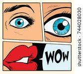 comic storyboard woman wow... | Shutterstock . vector #744028030