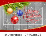 merry christmas lettering and... | Shutterstock .eps vector #744028678