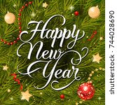 happy new year lettering   Shutterstock .eps vector #744028690