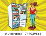 diet. young woman on scales ...   Shutterstock . vector #744029668