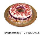 Stock photo traditional salad herring dressed layered with vegetables selyodka pod shuboy 744030916