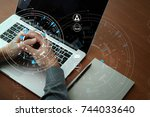businessman hand working with... | Shutterstock . vector #744033640