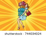 young woman with boxes sale ... | Shutterstock . vector #744034024