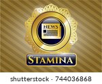 gold shiny badge with... | Shutterstock .eps vector #744036868