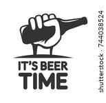 beer vector logo. male hand...   Shutterstock .eps vector #744038524