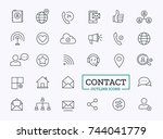 contact icons for web. vector... | Shutterstock .eps vector #744041779