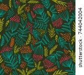 seamless pattern with rowan... | Shutterstock .eps vector #744042004