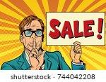 retro businessman secret sale | Shutterstock . vector #744042208