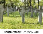 old cemetery with ladles and... | Shutterstock . vector #744042238