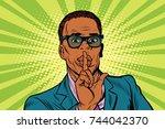 businessman gesture shh silence | Shutterstock . vector #744042370