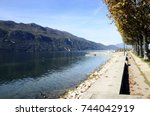 bourget lake and mountains from ... | Shutterstock . vector #744042919