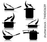 kitchen utensils set | Shutterstock . vector #744043639