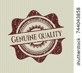 red genuine quality distress... | Shutterstock .eps vector #744043858
