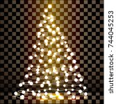 christmas tree made of lights... | Shutterstock . vector #744045253
