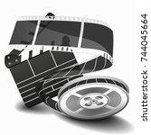 movie clapperboard or film... | Shutterstock . vector #744045664