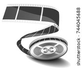 film reel and twisted cinema... | Shutterstock . vector #744045688