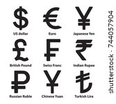 currencies symbol icons set.... | Shutterstock .eps vector #744057904
