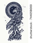 raven and old tree tattoo and t ... | Shutterstock .eps vector #744058000