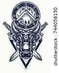 bull tattoo and t shirt design. ... | Shutterstock .eps vector #744058150