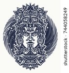 mayan tattoo and t shirt design.... | Shutterstock .eps vector #744058249