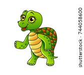 cartoon turtle isolated on... | Shutterstock .eps vector #744058600