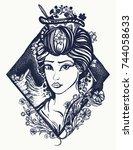 geisha tattoo and t shirt... | Shutterstock .eps vector #744058633