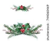 watercolor decorative christmas ... | Shutterstock . vector #744060469