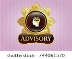 gold shiny badge with head... | Shutterstock .eps vector #744061570