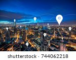 shanghai city scenery big data | Shutterstock . vector #744062218