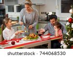 happy family with children at... | Shutterstock . vector #744068530