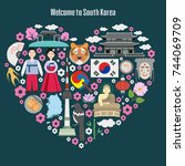 welcome to south korea....   Shutterstock .eps vector #744069709