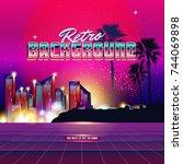 new retro wave background.... | Shutterstock .eps vector #744069898