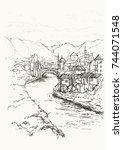 mostar  bosnia and herzegovina. ... | Shutterstock .eps vector #744071548