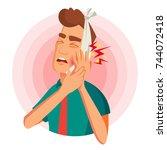 toothache concept vector.... | Shutterstock .eps vector #744072418