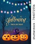 halloween background  pumpkins. ... | Shutterstock .eps vector #744072556