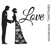 the couple with the inscription | Shutterstock .eps vector #744073483