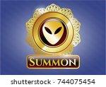 golden emblem with alien icon... | Shutterstock .eps vector #744075454