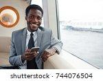 waist up portrait of cheerful... | Shutterstock . vector #744076504