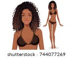 beautiful curly hair american... | Shutterstock .eps vector #744077269