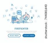 firefighter concept. template...   Shutterstock .eps vector #744081640