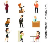 collection of smoking people in ... | Shutterstock .eps vector #744082774