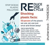 stop plastic pollution reduce ... | Shutterstock .eps vector #744082828