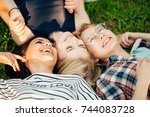 having best time with friends.... | Shutterstock . vector #744083728