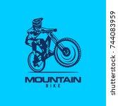logo mountain bike free ride... | Shutterstock .eps vector #744083959