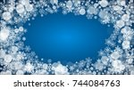 christmas frame with falling... | Shutterstock .eps vector #744084763