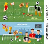 elements of professional soccer ... | Shutterstock .eps vector #744085774